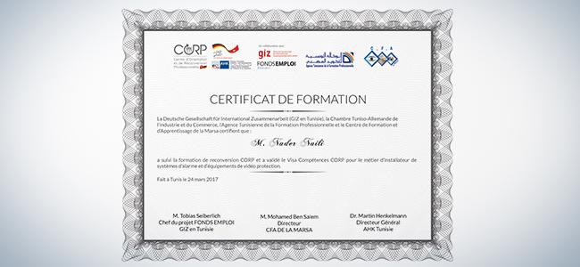 impression certificat de formation