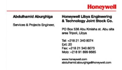 Cartes de visites Honywell