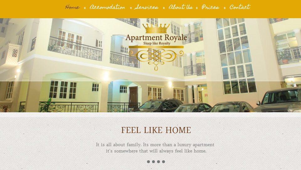 Conception Site web Apartment Royale