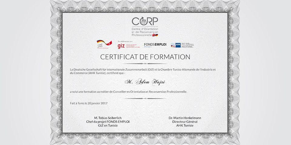 Certificat CORP