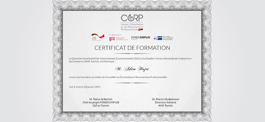 Certificat de formation CORP